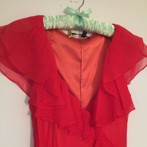 Elegant Red/Orange Silk Wrap Long Dress Size 4